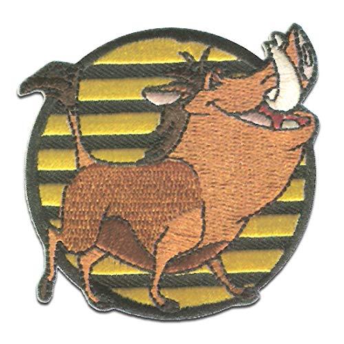 Disney El rey len Pumba - Parches termoadhesivos bordados aplique para ropa, tamao: 6,5 x 6,8 cm