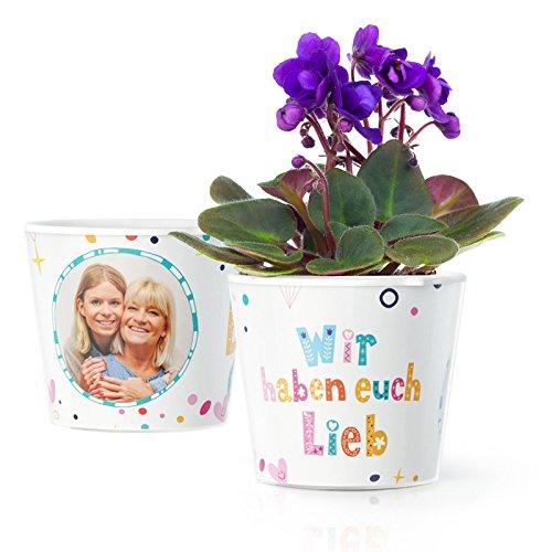 Facepot Oma und Opa Geschenk - Blumentopf (ø16cm) mit Bilderrahmen für Zwei Fotos (10x15cm) | Wir haben euch lieb