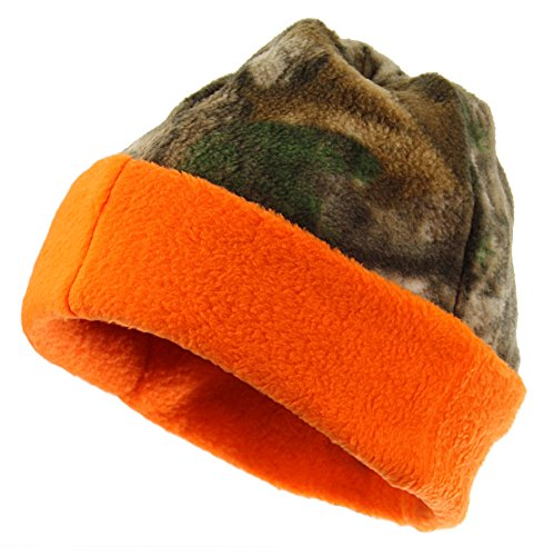 Equipment De Sport USA Zeek austatter Lizenzprodukt Camouflage Fleece Wende Cuffed Beanie mit Polygiene, Realtree Xtra/Blaze
