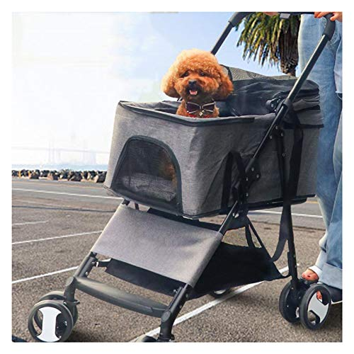 HyiFMY Carro de Perro, Carretilla de Cuatro Ruedas Transpirable Plegable, Cesta de Perro de Gato de Entrada con Cremallera, para pequeños Perros y Gatos Medios
