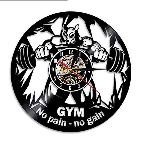 mazhant Fitness Club Motivation The Beast Reloj de Pared silencioso Gym Decor Disco de Vinilo Reloj de Pared Bodybuilding Kettle Bell Reloj de Pared Retro