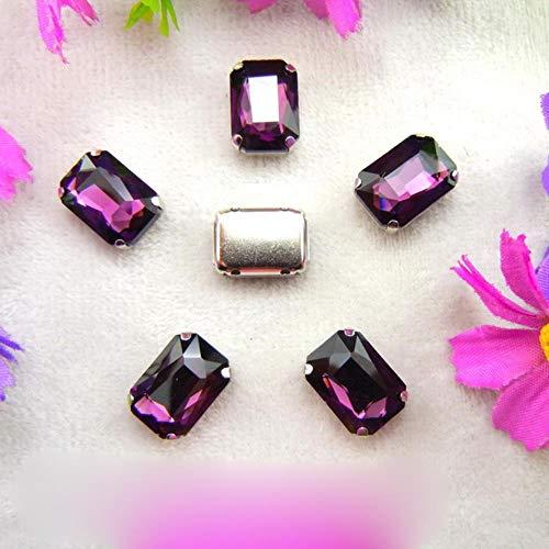 Configuración de garra de cristal de plata de cristal 7 tamaños colores agradables mezcla Forma de rectángulo Coser cuentas de diamantes de imitación ropa zapatos adornos de bricolaje