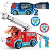 JOYIN Remote Control Take Apart Fire Truck & Police Car with Built-in Lights and Sounds & Drill for Kids STEM Assembly Vehicle Toy City Collection Gift.