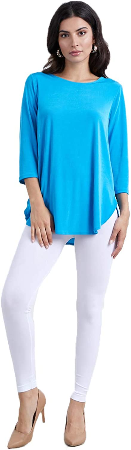 Jostar Limited price sale Detroit Mall Women's Stretchy Rounded Bottom Sleeves Tunic Top Quarter