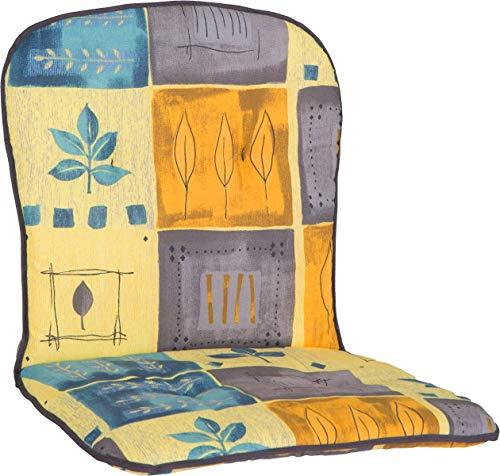 Beo Polster für niedrige Stapelstühle Monoblockauflage Patchwork Blätter blau beige