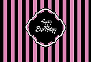 Baocicco Vinyl Happy Birthday Banner Backdrop 10x7ft Black and Purple Striped Backdrop Baby Girl Birthday Party Photography Background Studio Child Baby Portrait Backdrop