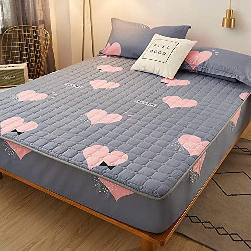 HPPSLT Protector de colchón/Cubre colchón Acolchado, antiácaros, Sábana Gruesa de una Sola Pieza Transpirable-4_90 * 200cm