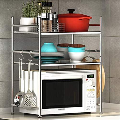 WWJHH-Kitchen shelf Estante de Cocina para microondas, 3 Capas, 2 Compartimentos, Acero Inoxidable, Estante de Almacenamiento estéreo, ángulo Recto, 23,214,525,9'.