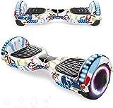 Magic Way Hoverboard - 6.5' - Bluetooth - Motor 700 W - Velocidad 15 km/h - LED - Patinete Eléctrico Auto-Equilibrio - para niños y Adultos - Graffiti