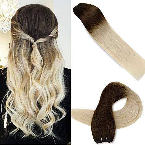 LaaVoo 50 cm Weft Tressen Ombre Human Hair Bundles Weave in Extensions Echthaar Glatt 100Gram/Stuck Sew in Weaving Haarverlangerung Schokoladenbraun zu Platinblond