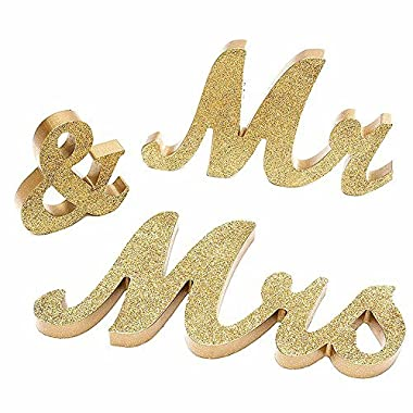 senover Mr and Mrs Sign Wedding Sweetheart Table Decorations,Mr and Mrs Letters Decorative Letters for Wedding Photo Props Party Banner Decoration,Wedding Shower Gift (Gold Glitter)
