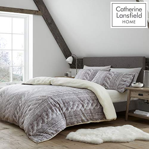 Catherine Lansfield Cable Knit Fleece Double Duvet Set Natural
