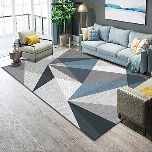 La alfombras Decoracion Mesa Salon Alfombra Duradera de diseño geométrico Gris Azulado Suave Alfombra habitacion Infantil alfombras para Salon 80*150CM