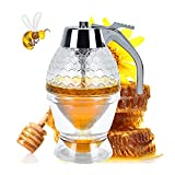 YoleShy Honey Dispenser No Drip Syrup Dispenser Container with Storage Stand and Stopper, 8 Ounce