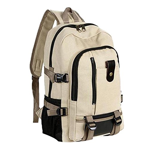 SicongHT Women Men Vintage Large Travel Canvas Leather Backpack Sport Rucksack Satchel School Hiking Bag(Khaki)