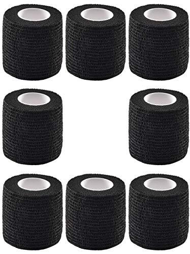 8Pcs Tattoo Grip Cover Elastische wasserdichte selbstklebende Bandage Tape Adherent Wrap für Tattoo Machine Grip Zubehör Tattoo Supplies und Tape für Sport Finger Wrist, Schwarz