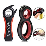 MAEXUS 6 in 1 Multi Opener Jar Opener, 5 in 1 Bottle Can Opener Set, Seal Soda Lid Twist Grips with Instructions, Jar Opener for Chef Kids Kitchen Holiday Party Gift