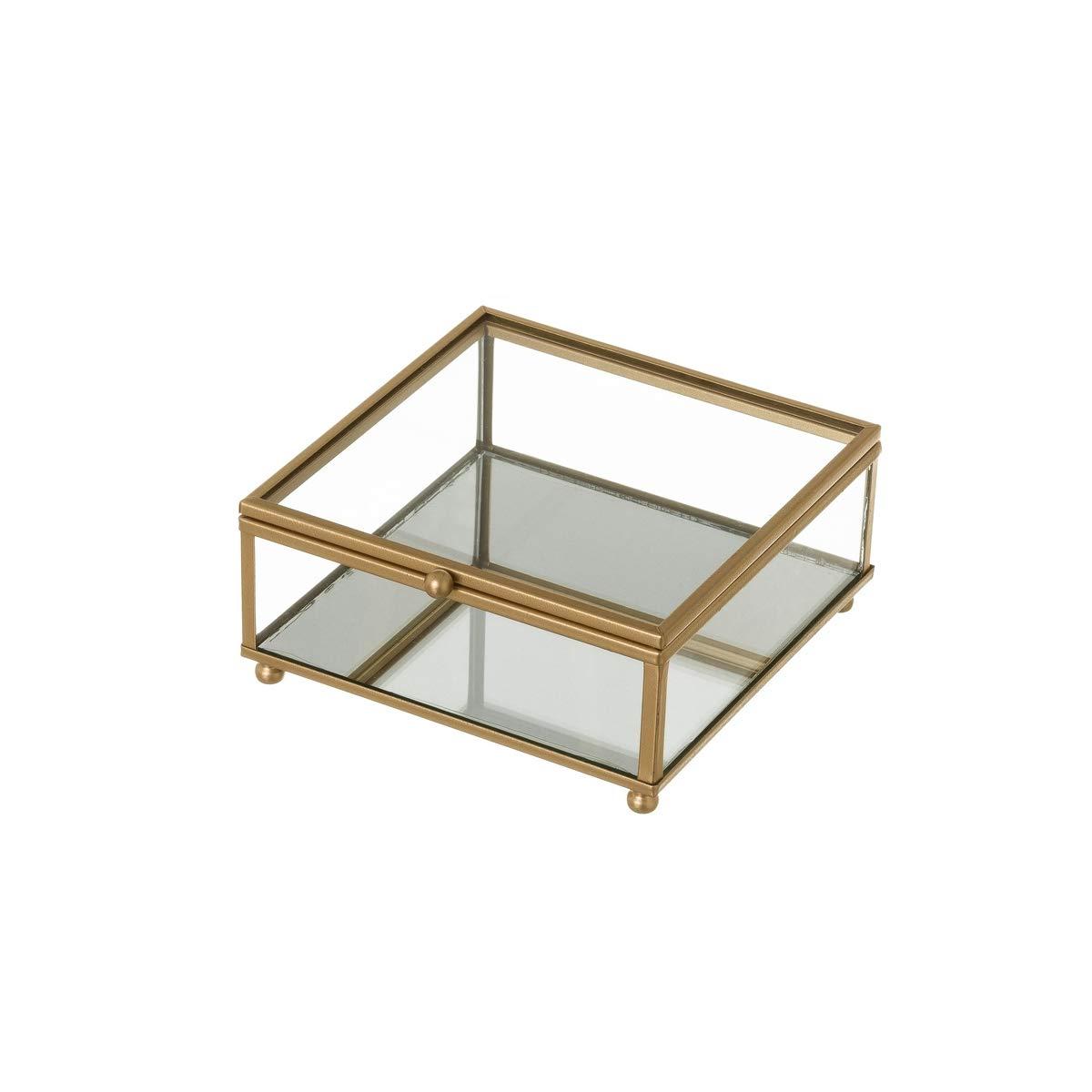 Joyero Caja de Cristal y Metal Dorada clásica, de 13x14x6 cm - LOLAhome: Amazon.es: Hogar