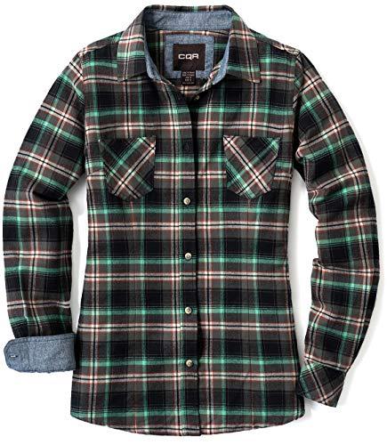 CQR Damen Flanell-Shirt kariert, langärmlig, weiches Casual-Button-Down Top aus Baumwolle, Wof002 1pack - Seattle Navy, XL