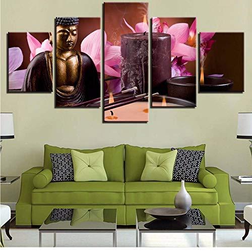 Pmhc schilderij op doek, HD, graveren, decoratie van het huis, 5 stuks, Boeddha, wand, kunst, kaars, modulair, foto's, bloemen, illustratie, voor de woonkamer 20x35cmx2 20x45cmx2 20x55cm-framed
