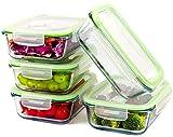 Monster24 Glasbehälter 1040 ml 10-teilig (5 Behälter und 5 Deckel) Glas-Frischhaltedosen luftdicht auslaufsicher stapelbar Grill Backofen Mikrowelle Kühlschrank Gefrierschrank Spülmaschine BPA-frei