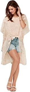 Lauren Conrad Women's LC Flutter Belted Kimono Coverup Ivory Floral OSFA