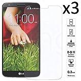 iGlobalmarket [3 Unidades Protector de Pantalla LG G2, Vidrio Templado, sin Burbujas, Alta Definicion, 9H Dureza, Resistente a Arañazos