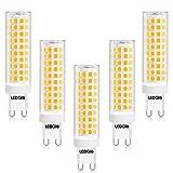 LEDGLE Bombillas LED G9 12W Blanco Cálido, 100W Bombilla Halógena Equivalente, 3000K, 1100LM, 124 LEDs Bombilla G9 LED, Ángulo de Luz de 360°, AC100-240V, No Regulable, Sin Parpadeo, Pack de 5