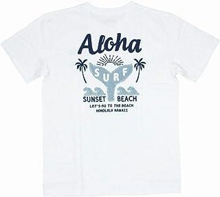 ALOHA MADE アロハメイド メンズ 半袖 Tシャツ (メンズ オフホワイト) 202MA1ST133 デニム貼り付け 刺繍柄 フララニ サーフブランド ハワイアン 雑貨 (Mサイズ)