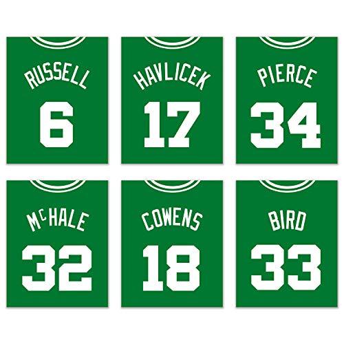 Boston Celtics Poster Set of Six Vintage Jerseys- Poster Prints