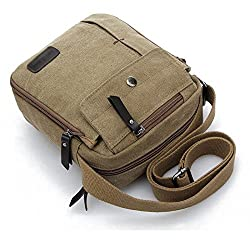 Aeoss Men and Women Leisure Small Messenger Bag Canvas Shoulder Bag Outdoor Multi-Purpose Travel Bag (Khaki)
