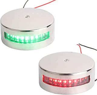 YOUNG MARINE 2-NM Deck Mount, Stanless Steel, Led Navigation Light for Starboard and prot Side, Green and Red