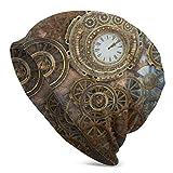 Ye Hua Steampunk Oxidado con Reloj y Diferentes Tipos de Engranajes Algodón para Mujer Sombrero de Cobertura Simple Gorro de Dormir Forrado