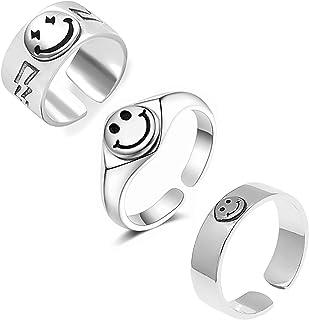 وجه مبتسم خاتم فضة مبتسمة خواتم للنساء سعيد وجه الفرقة خاتم فانكي خواتم قابل للتعديل مفتوحة مفصل مجموعة خاتم