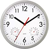 HYLANDA Silent Non-Ticking Wall Clock with Temperature & Humidity, 10 Inch Quartz Wall Clocks Battery Operated Modern Style Decorative for Kitchen/Living Room/Bathroom/Office(Silver)
