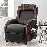 Homall gaming lehnstuhl einzel wohnzimmer sofa recliner pu-leder lehnstuhl sitz home theater seating schwarz rot