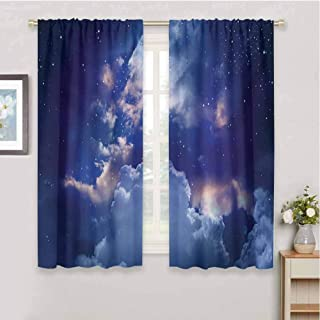 zojihouse Space Magic Sky View with Star and Clouds Celestial Miraculous World Cosmic Expanse Theme Window Curtain Fabric Blue White Blackout Draperies for Bedroom W72xL63