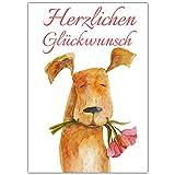 A4 XXL Glückwunschkarte HUND MIT BLUME mit Umschlag - edle Klappkarte geeignet für alle Anlässe wie Geburtstag Hochzeit Jubiläum Karte von BREITENWERK