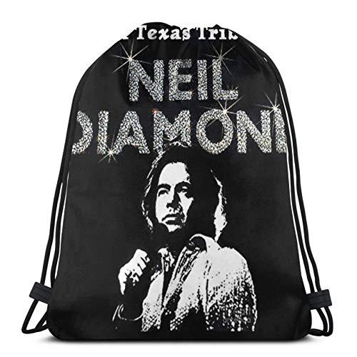Neil Diamond - Mochila unisex con cordón para hombro, bolsa de cincha, poliéster, impermeable, para deportes, gimnasio, yoga, natación, viajes, escuela
