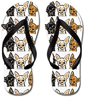 3 Smooth Chihuaha Flip Flops for Adults S with