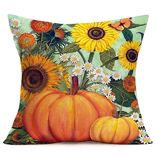 Hopyeer Watercolor Autumn Harvest Pumpkin Decor Throw Pillow Covers Rustic Farmhouse Sunflowers Daisies Flowers Butterfly Cotton Linen Cushion Case Cover for Sofa Couch Pillowcase 18'x18' (WA-Flowers)