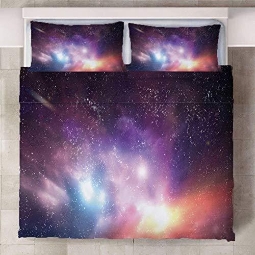 Set De Funda Nórdica Cielo Estrellado 3D-trapunta de polialgodón Estampado, Funda Nórdica y Fundas de Almohada de algodón 140cm x 200cm