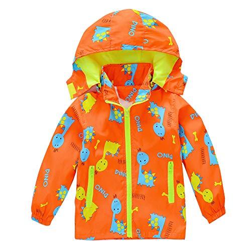 HZXVic Baby Boys Jacket Outerwear,Girls Hooded Windbreaker Trench,Lightweight Kids Dinosaur Coats (Orange Fat,3T)
