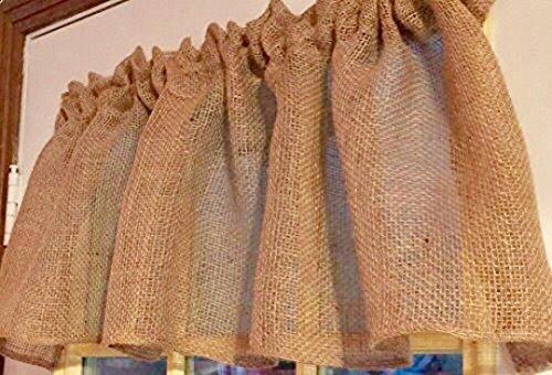 Country Idaho Burlap Valance Topper 52 Wide x 15 Long Window Curtain Valance Khaki Fabric