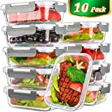 [10 Pack,22 Oz]Glass Meal Prep Containers,Glass Food Storage Containers with lids,Glass Lunch...