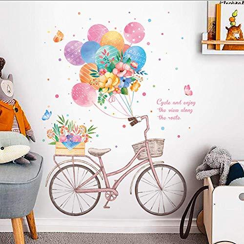 Muursticker voor het versieren van de slaapkamer met kleurrijke ballonnen en bloemen, muurstickers voor fiets, slaapkamer, woonkamer, hal, deur, kastdeur van vinyl