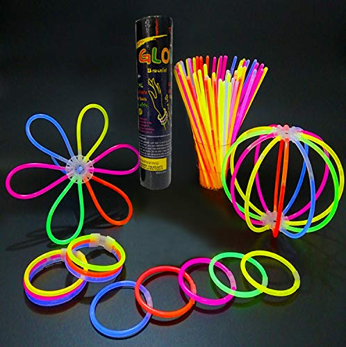 Generic V_GS-Mix 8' Inch Sticks Packs Bracelets Necklaces Neon Light Fluorescent 100 Pieces Glow-in-The-Dark Fun Party Accessory, Multi Colour