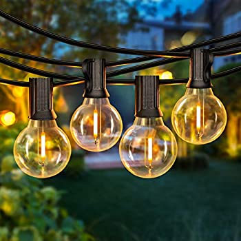 50FT LED G40 Globe String Lights Shatterproof Outdoor Patio String Lights 2200K with 50+2 Dimmable Edison Bulbs 50 Backyard Hanging Lights Bistro Light Waterproof for Balcony Party Wedding Market