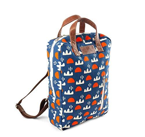 MAIKA Rucksack aus recyceltem Segeltuch, mit Reißverschluss, Himmel, Blau