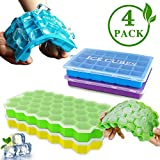Ice Cube Trays Kmivo 4 Pack Silicone Easy-Release Ice Cube Molds with Lids, Flexible 122-Ice Trays BPA-free Stackable for Whiskey Cocktail Chilled Drinks Chocolate